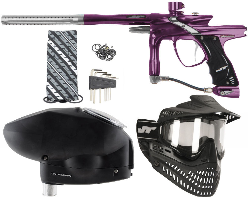 JT Impulse Paintball Gun w/ Free JT Proflex Mask & Evlution Loader - Eggplant/Grey