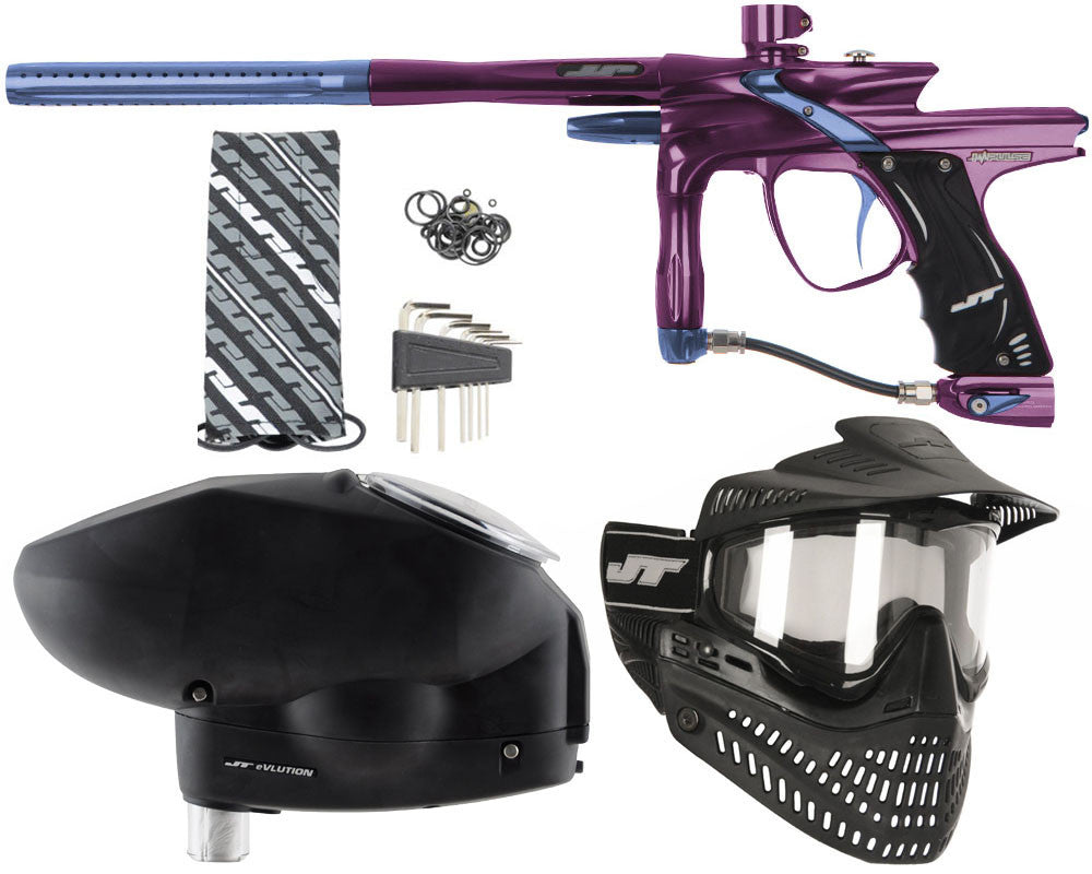 JT Impulse Paintball Gun w/ Free JT Proflex Mask & Evlution Loader - Eggplant/Gun Metal