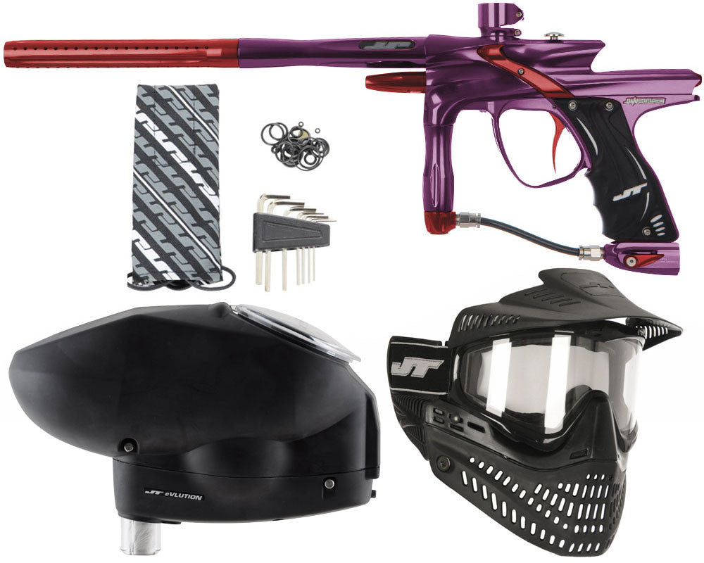 JT Impulse Paintball Gun w/ Free JT Proflex Mask & Evlution Loader - Eggplant/Red
