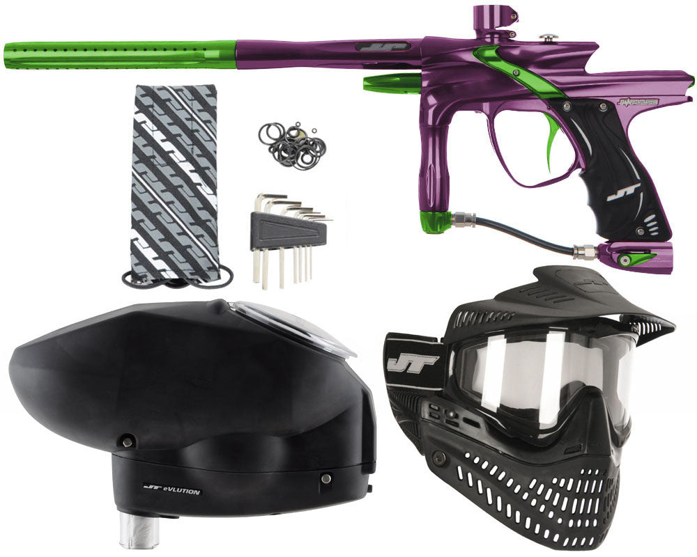 JT Impulse Paintball Gun w/ Free JT Proflex Mask & Evlution Loader - Eggplant/Slime
