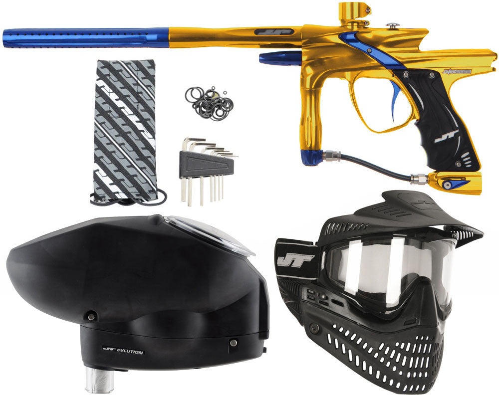 JT Impulse Paintball Gun w/ Free JT Proflex Mask & Evlution Loader - Gold/Blue