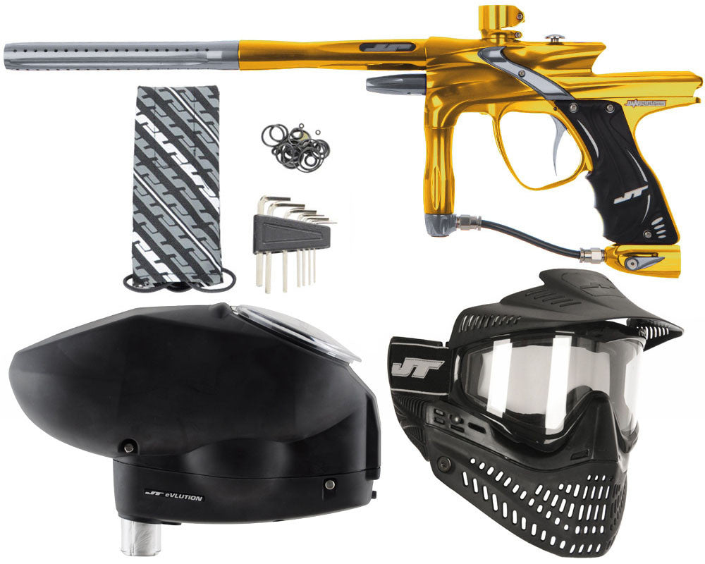 JT Impulse Paintball Gun w/ Free JT Proflex Mask & Evlution Loader - Gold/Charcoal