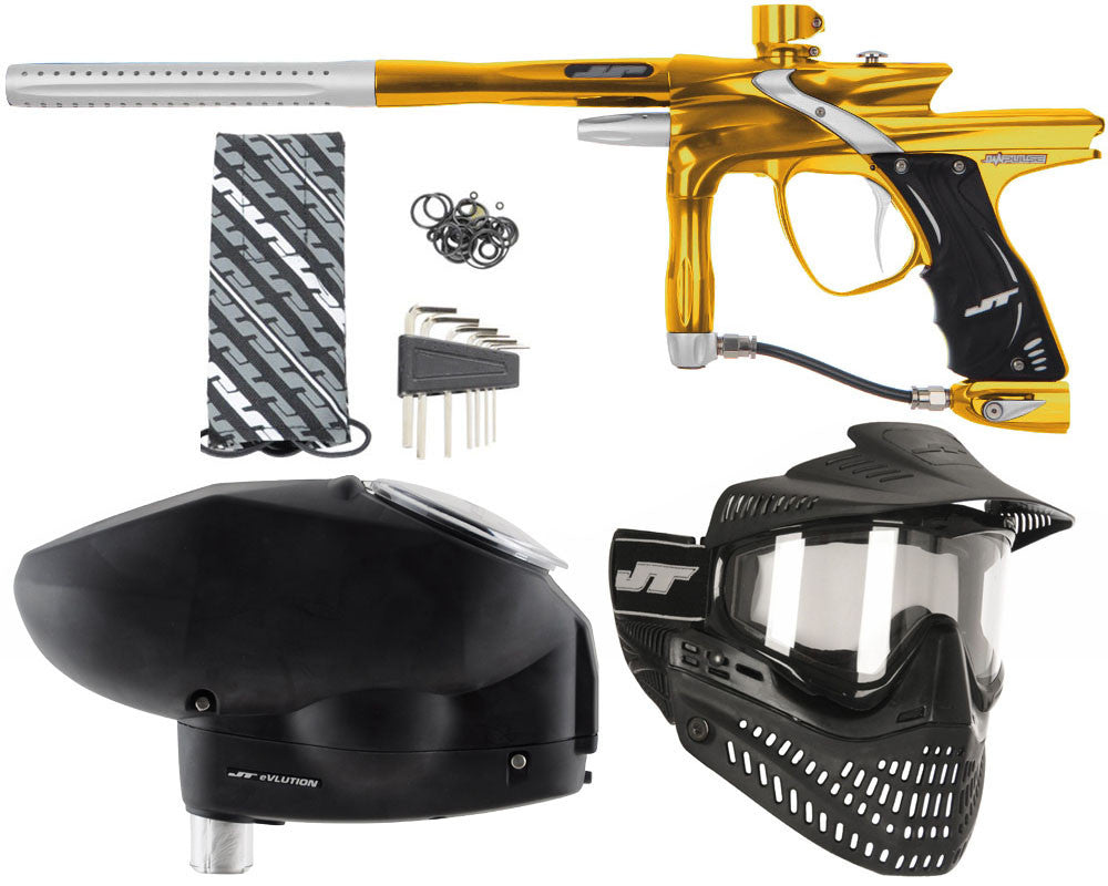 JT Impulse Paintball Gun w/ Free JT Proflex Mask & Evlution Loader - Gold/Dust Silver