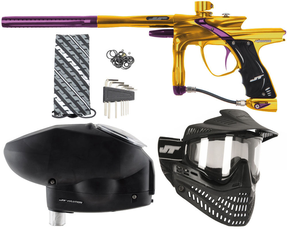 JT Impulse Paintball Gun w/ Free JT Proflex Mask & Evlution Loader - Gold/Eggplant