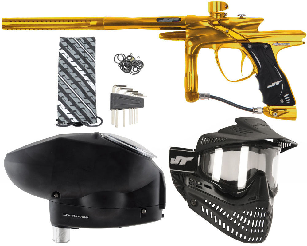 JT Impulse Paintball Gun w/ Free JT Proflex Mask & Evlution Loader - Gold/Gold