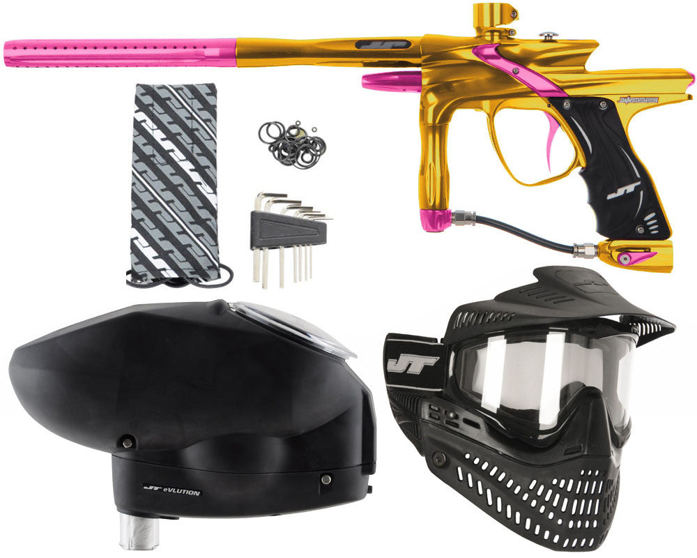 JT Impulse Paintball Gun w/ Free JT Proflex Mask & Evlution Loader - Gold/Pink
