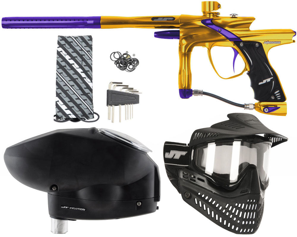 JT Impulse Paintball Gun w/ Free JT Proflex Mask & Evlution Loader - Gold/Purple