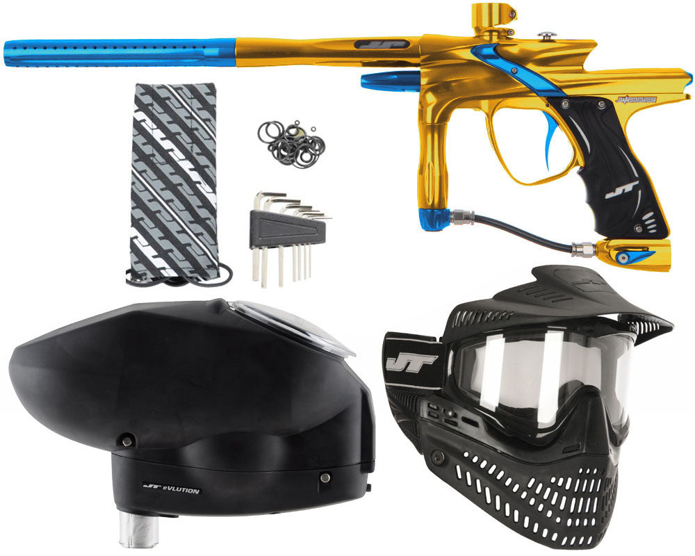 JT Impulse Paintball Gun w/ Free JT Proflex Mask & Evlution Loader - Gold/Teal
