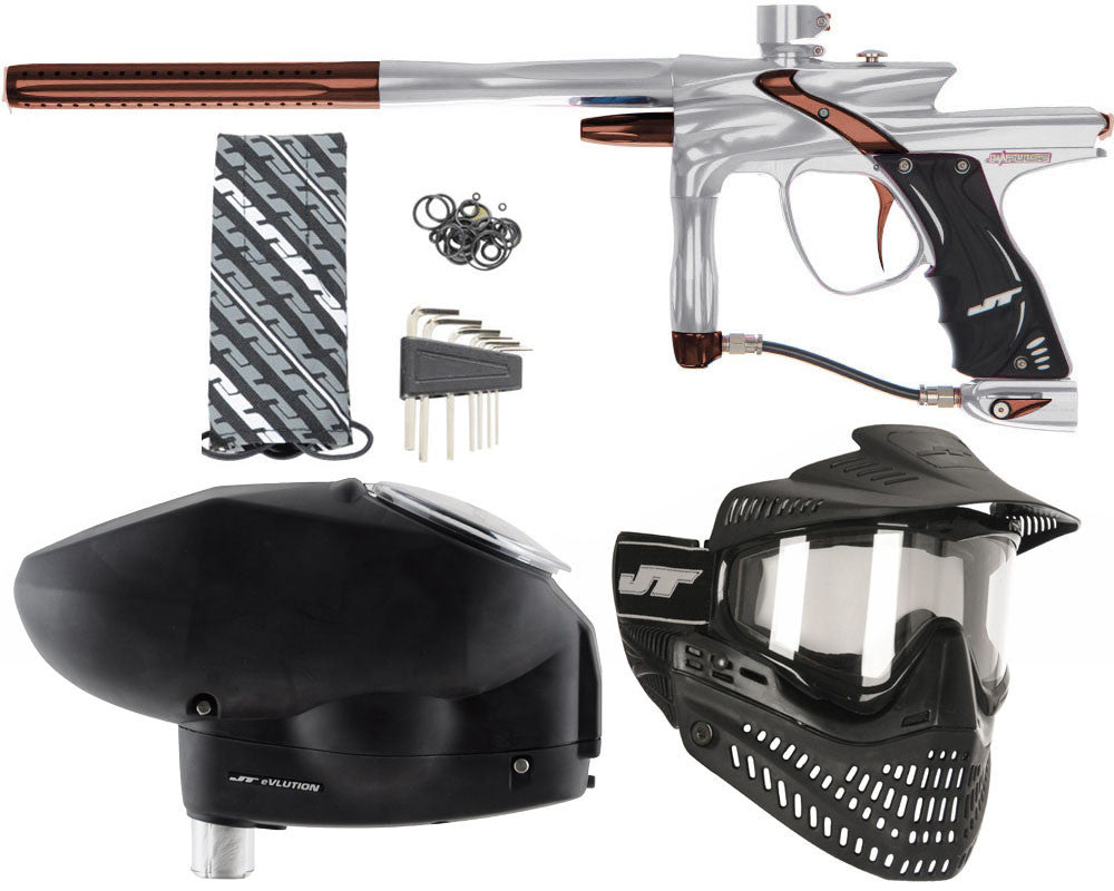 JT Impulse Paintball Gun w/ Free JT Proflex Mask & Evlution Loader - Grey/Brown