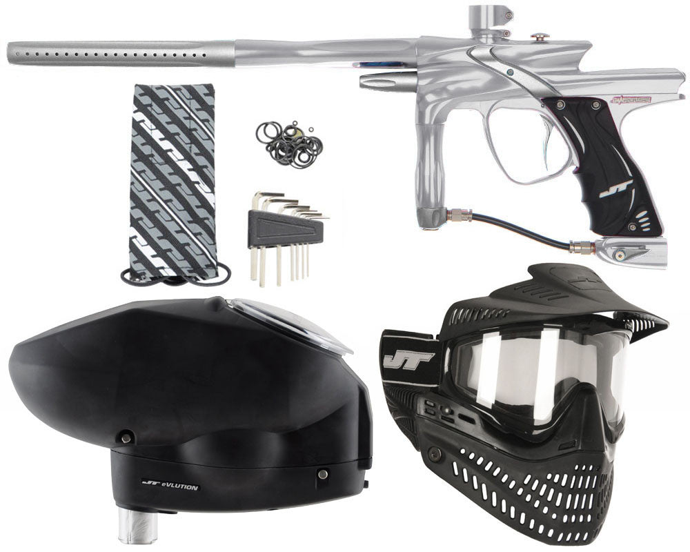 JT Impulse Paintball Gun w/ Free JT Proflex Mask & Evlution Loader - Grey/Dust Silver