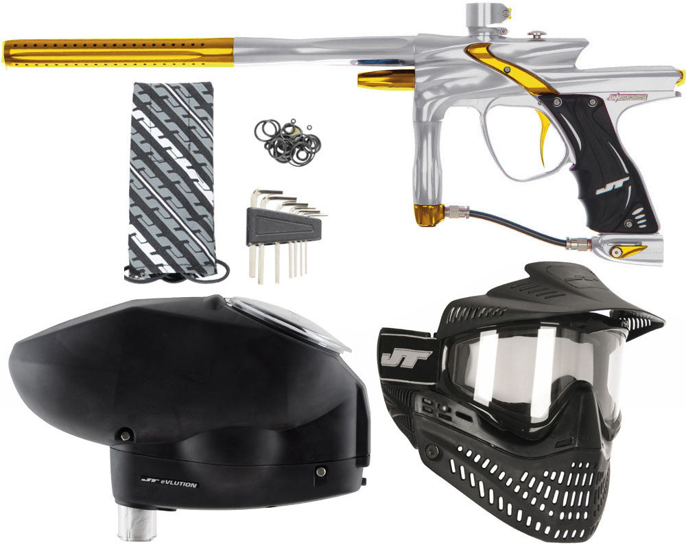 JT Impulse Paintball Gun w/ Free JT Proflex Mask & Evlution Loader - Grey/Gold