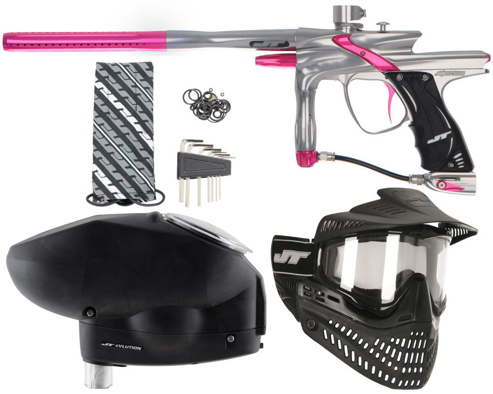 JT Impulse Paintball Gun w/ Free JT Proflex Mask & Evlution Loader - Grey/Pink