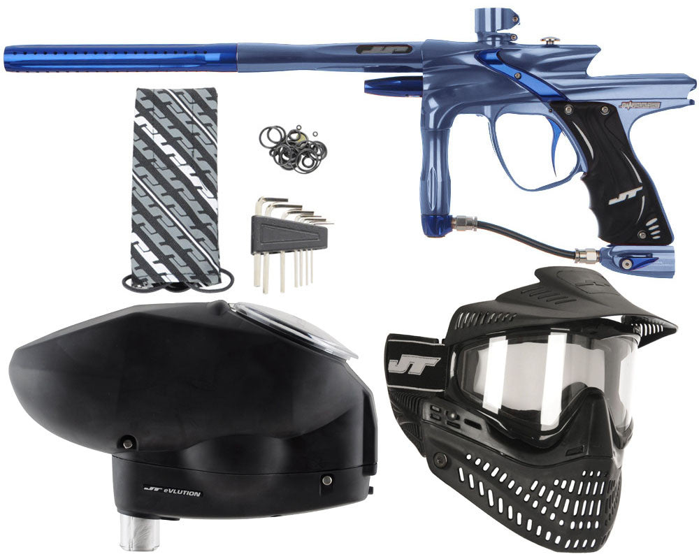 JT Impulse Paintball Gun w/ Free JT Proflex Mask & Evlution Loader - Gun Metal/Blue