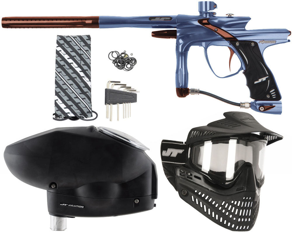 JT Impulse Paintball Gun w/ Free JT Proflex Mask & Evlution Loader - Gun Metal/Brown