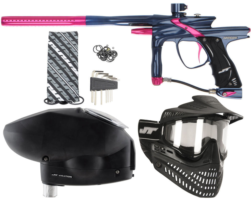 JT Impulse Paintball Gun w/ Free JT Proflex Mask & Evlution Loader - Gun Metal/Pink