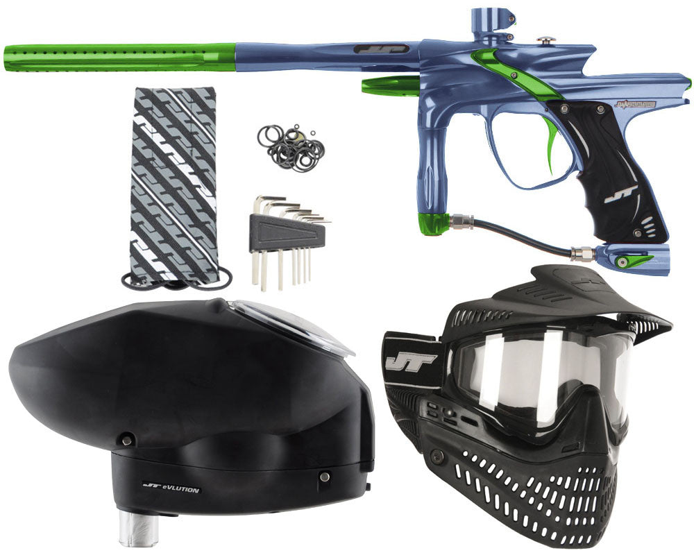 JT Impulse Paintball Gun w/ Free JT Proflex Mask & Evlution Loader - Gun Metal/Slime