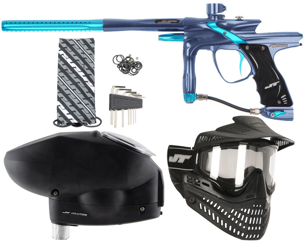 JT Impulse Paintball Gun w/ Free JT Proflex Mask & Evlution Loader - Gun Metal/Teal