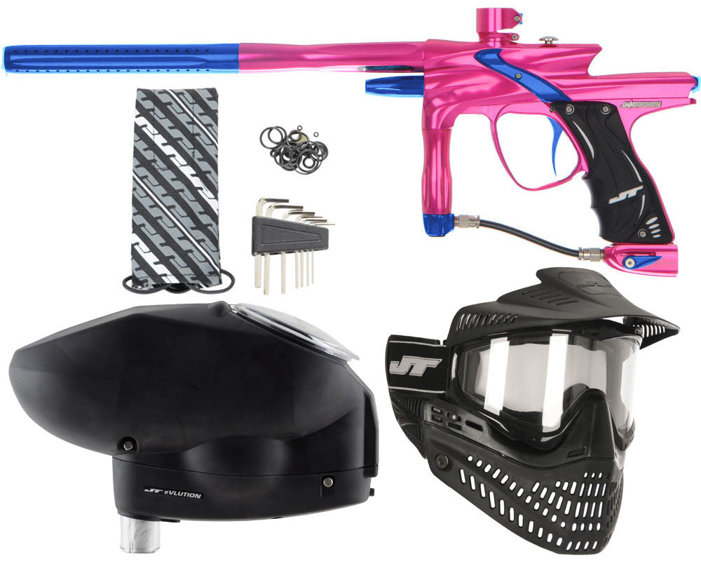JT Impulse Paintball Gun w/ Free JT Proflex Mask & Evlution Loader - Pink/Blue