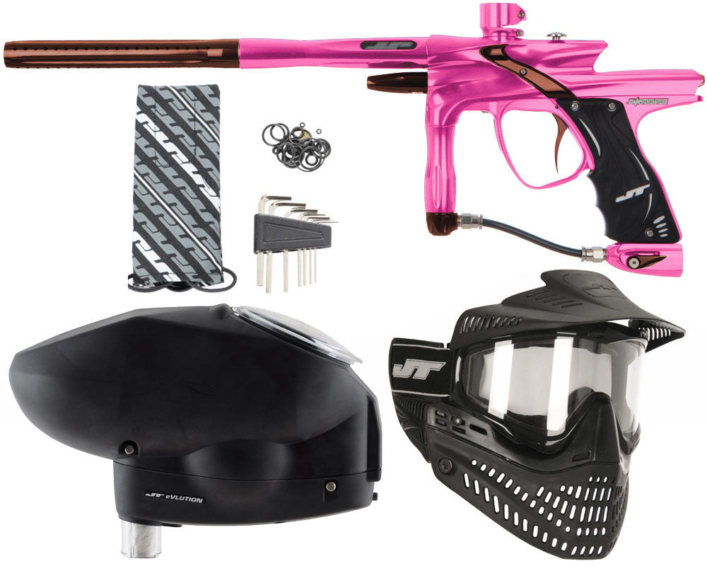 JT Impulse Paintball Gun w/ Free JT Proflex Mask & Evlution Loader - Pink/Brown