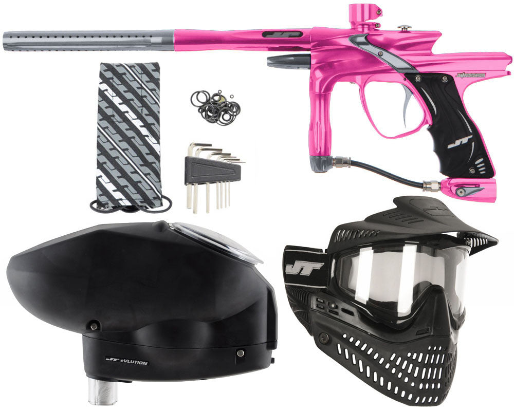 JT Impulse Paintball Gun w/ Free JT Proflex Mask & Evlution Loader - Pink/Charcoal