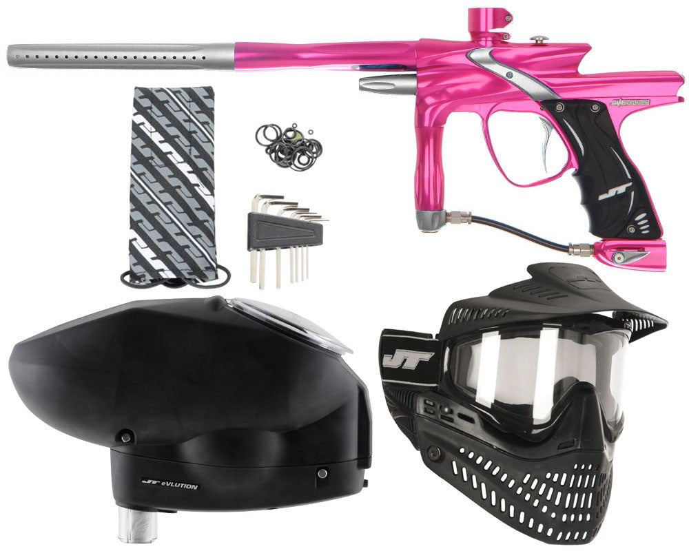JT Impulse Paintball Gun w/ Free JT Proflex Mask & Evlution Loader - Pink/Dust Silver