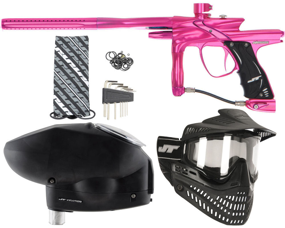 JT Impulse Paintball Gun w/ Free JT Proflex Mask & Evlution Loader - Pink/Pink