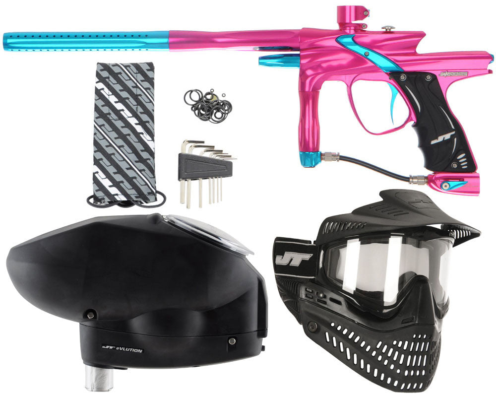 JT Impulse Paintball Gun w/ Free JT Proflex Mask & Evlution Loader - Pink/Teal