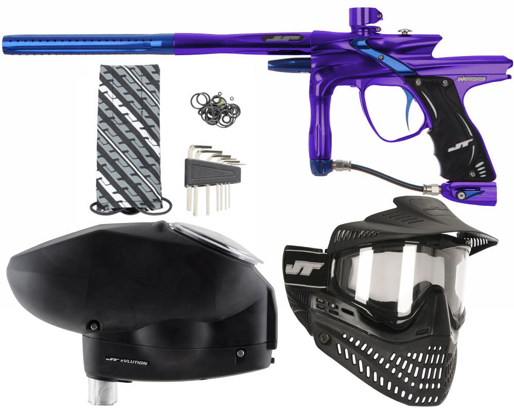 JT Impulse Paintball Gun w/ Free JT Proflex Mask & Evlution Loader - Purple/Blue