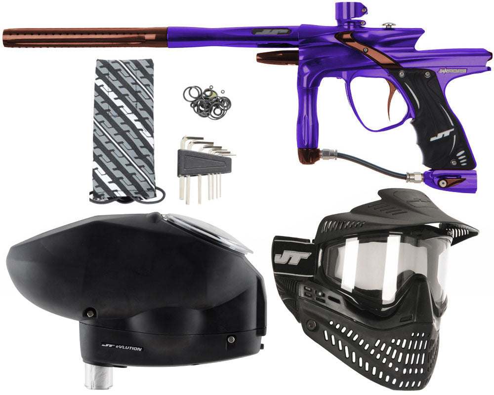 JT Impulse Paintball Gun w/ Free JT Proflex Mask & Evlution Loader - Purple/Brown