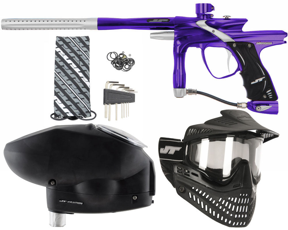 JT Impulse Paintball Gun w/ Free JT Proflex Mask & Evlution Loader - Purple/Dust Silver