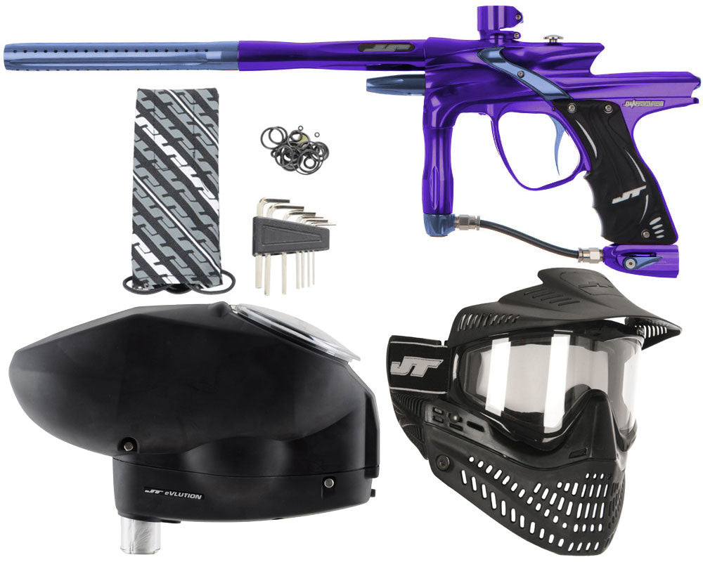 JT Impulse Paintball Gun w/ Free JT Proflex Mask & Evlution Loader - Purple/Gun Metal