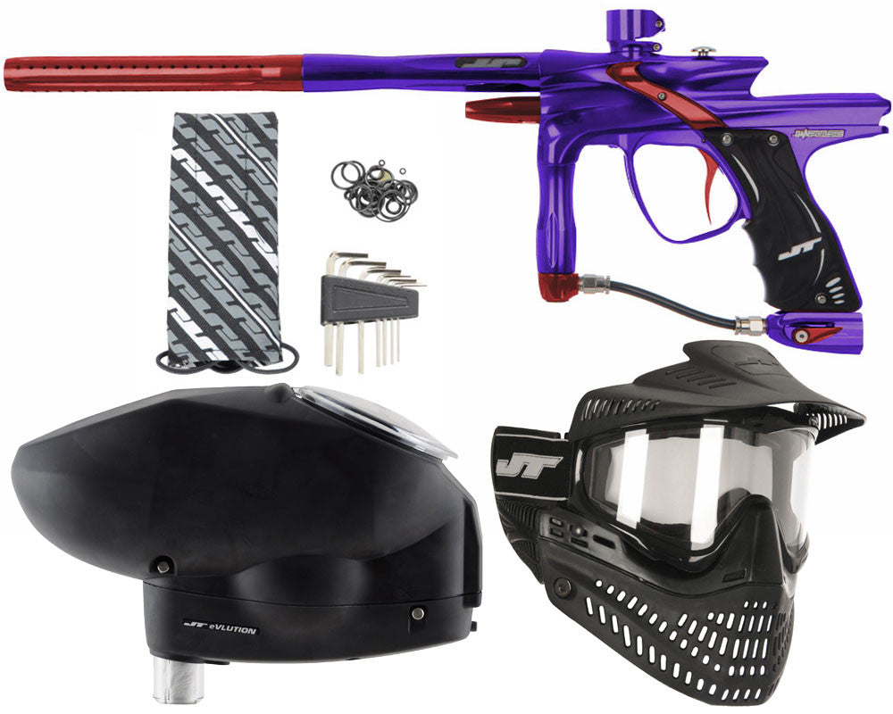 JT Impulse Paintball Gun w/ Free JT Proflex Mask & Evlution Loader - Purple/Red
