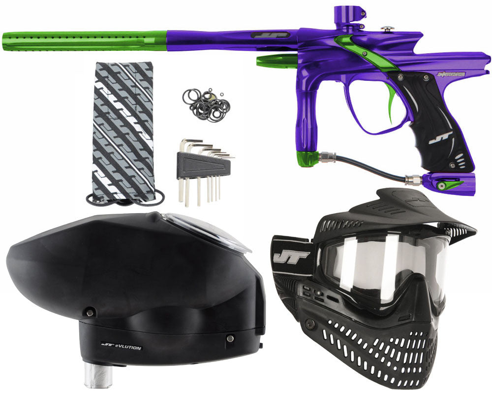 JT Impulse Paintball Gun w/ Free JT Proflex Mask & Evlution Loader - Purple/Slime