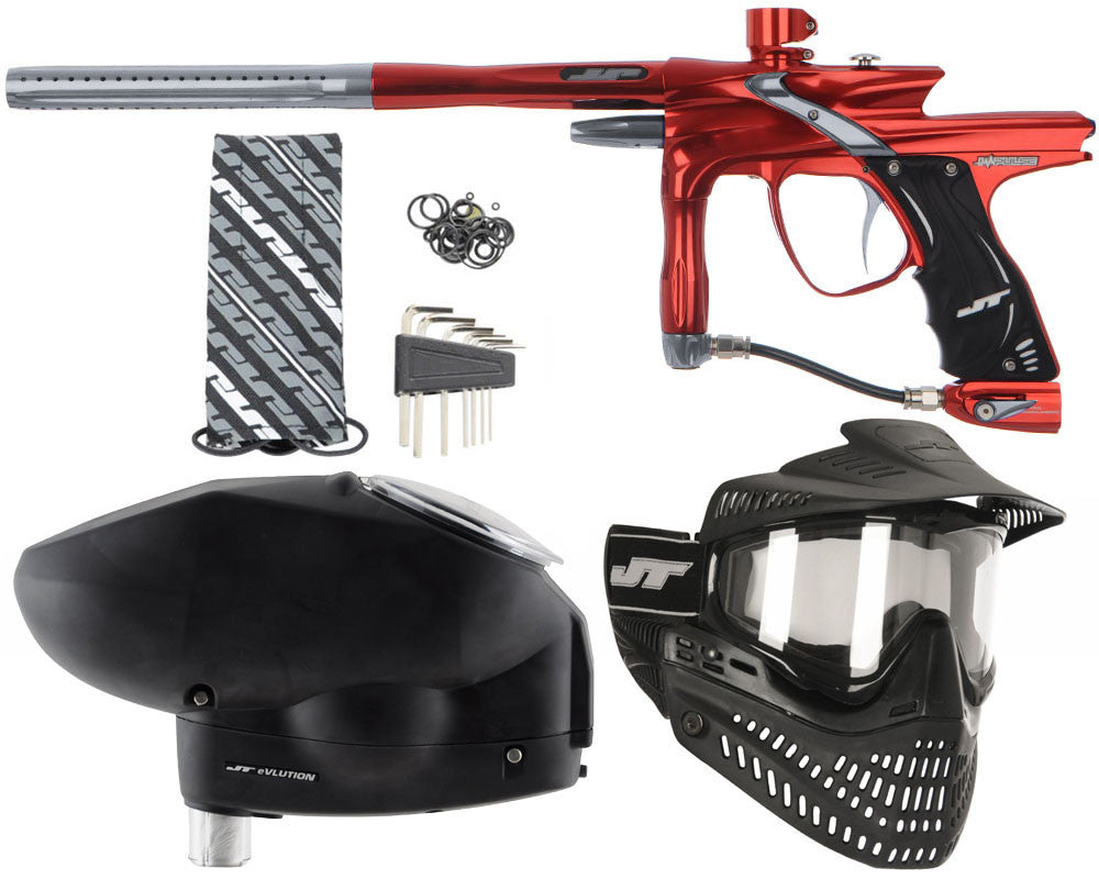JT Impulse Paintball Gun w/ Free JT Proflex Mask & Evlution Loader - Red/Charcoal