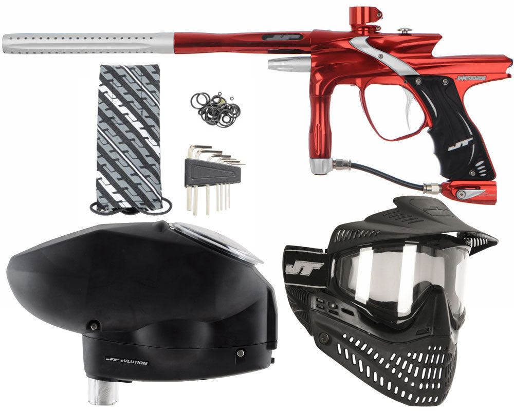 JT Impulse Paintball Gun w/ Free JT Proflex Mask & Evlution Loader - Red/Dust Silver