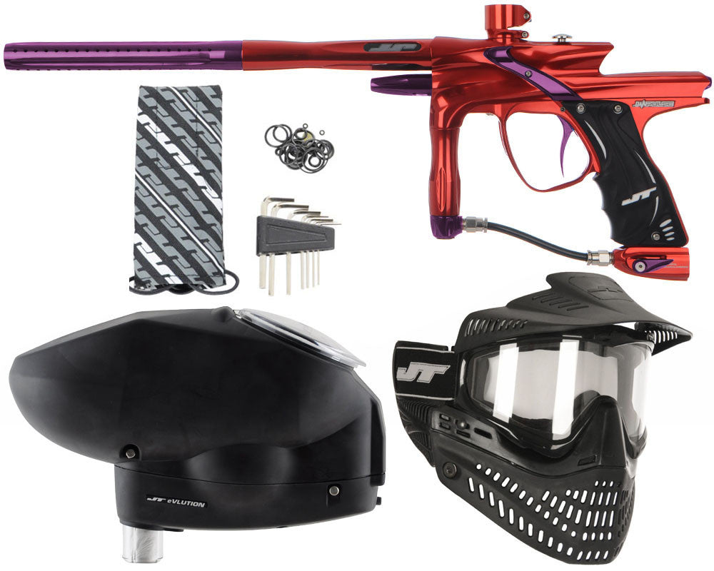 JT Impulse Paintball Gun w/ Free JT Proflex Mask & Evlution Loader - Red/Eggplant