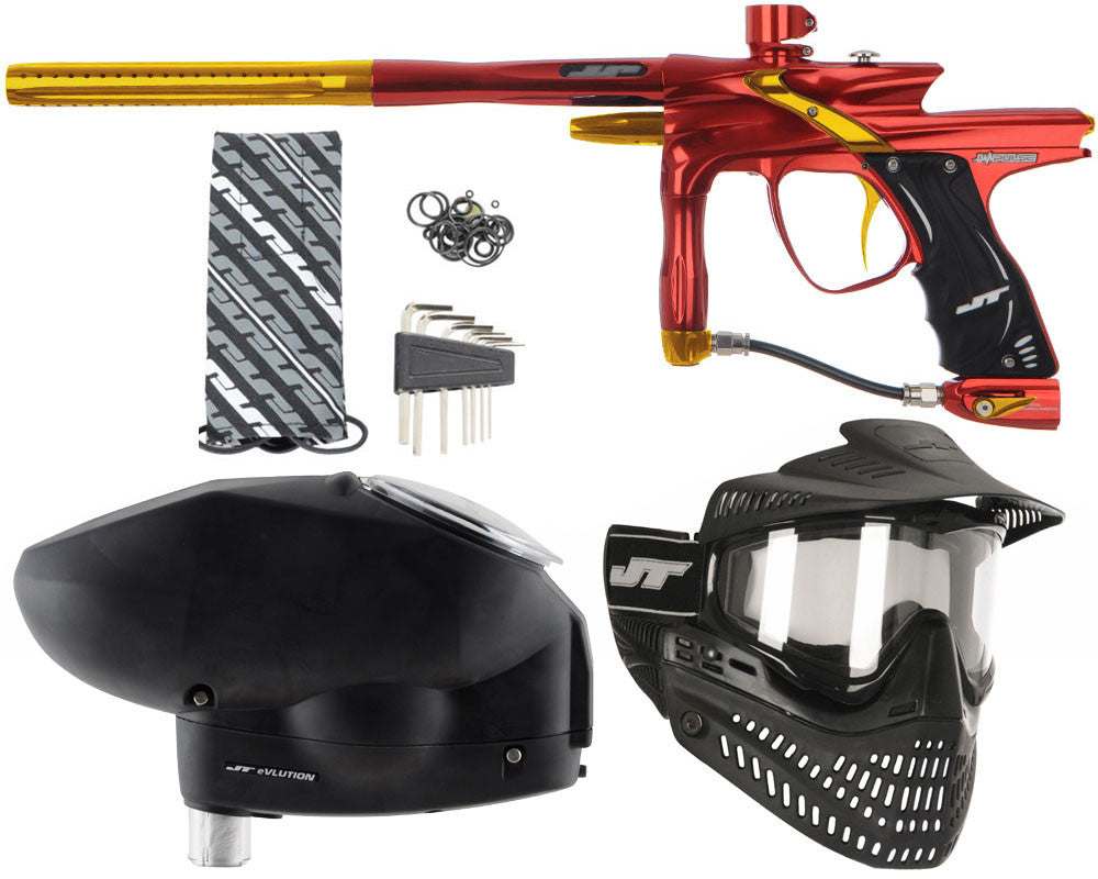 JT Impulse Paintball Gun w/ Free JT Proflex Mask & Evlution Loader - Red/Gold