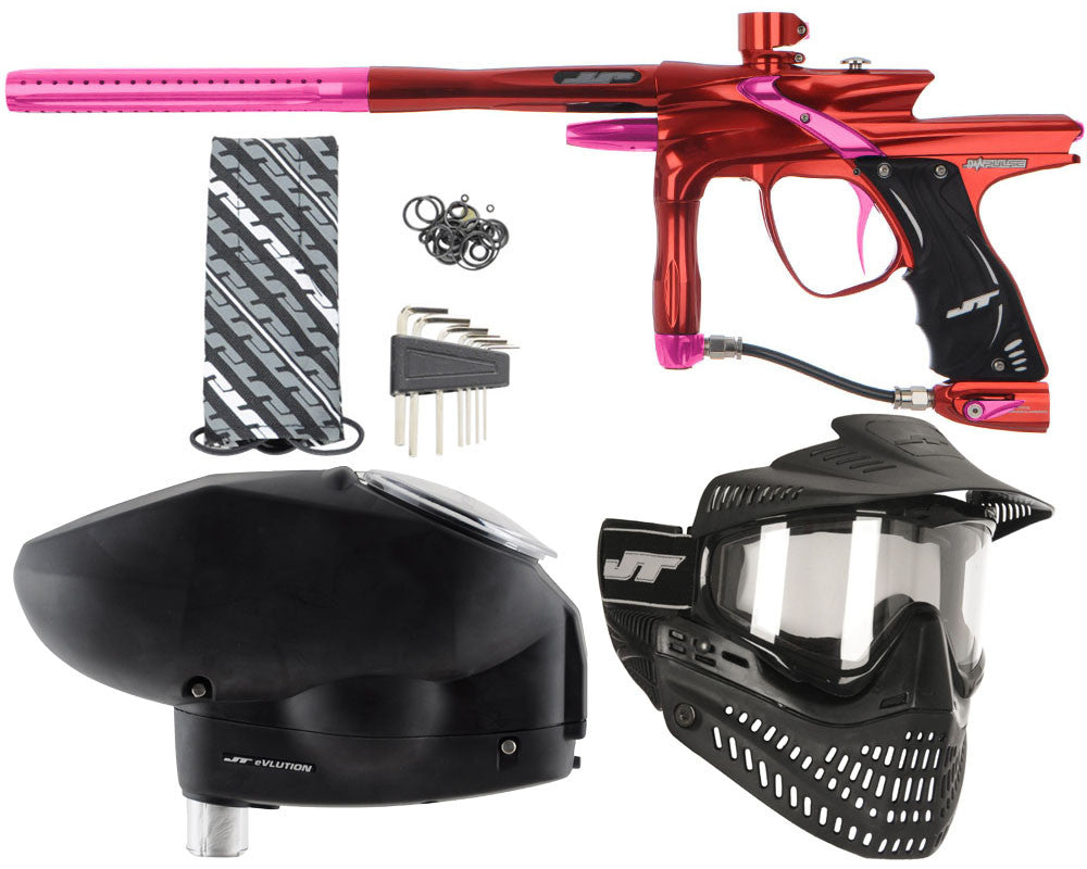 JT Impulse Paintball Gun w/ Free JT Proflex Mask & Evlution Loader - Red/Pink