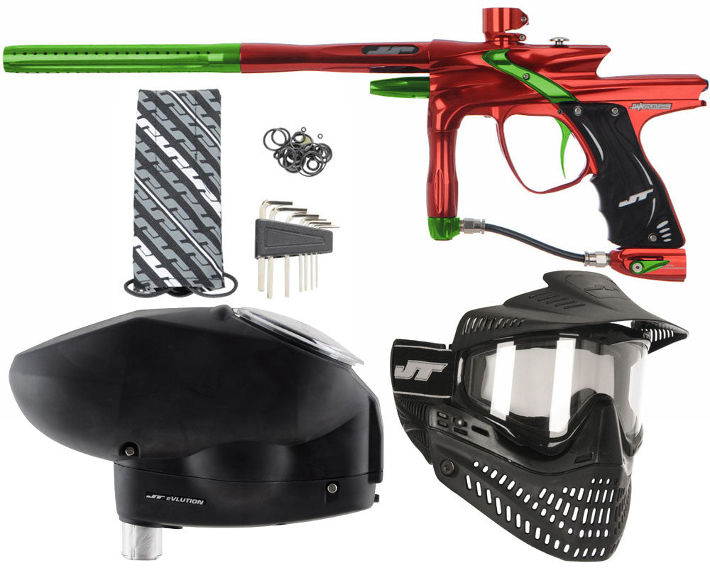 JT Impulse Paintball Gun w/ Free JT Proflex Mask & Evlution Loader - Red/Slime