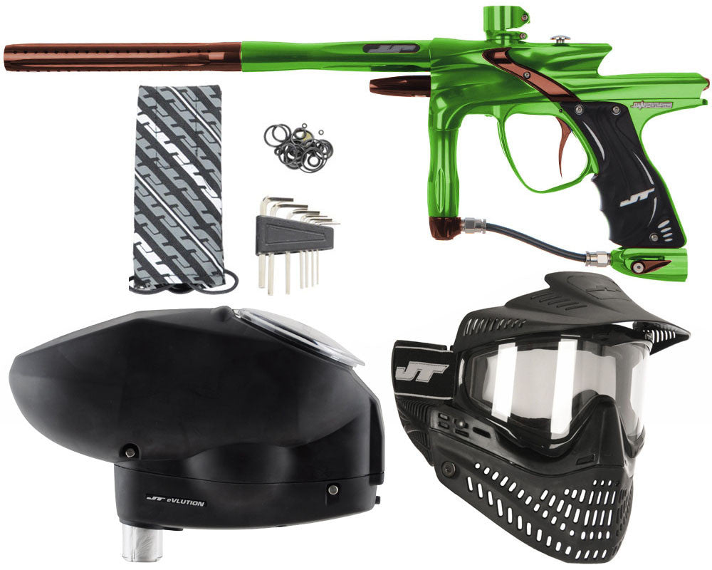 JT Impulse Paintball Gun w/ Free JT Proflex Mask & Evlution Loader - Slime/Brown