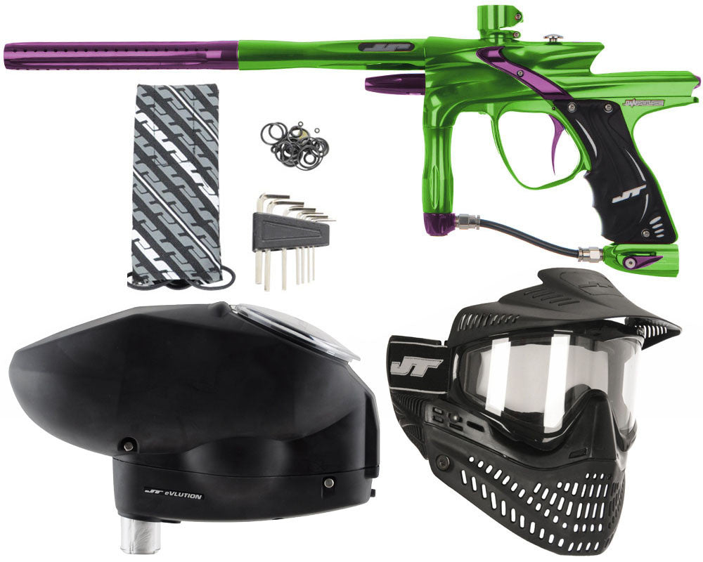 JT Impulse Paintball Gun w/ Free JT Proflex Mask & Evlution Loader - Slime/Eggplant