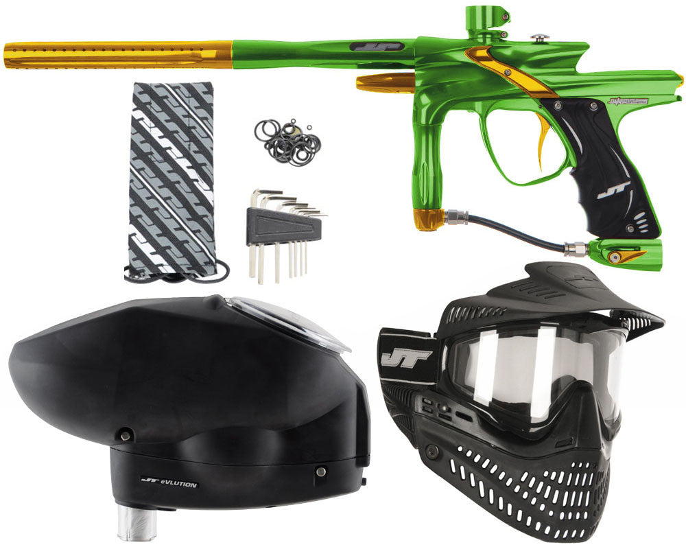 JT Impulse Paintball Gun w/ Free JT Proflex Mask & Evlution Loader - Slime/Gold