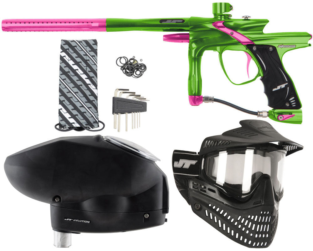 JT Impulse Paintball Gun w/ Free JT Proflex Mask & Evlution Loader - Slime/Pink