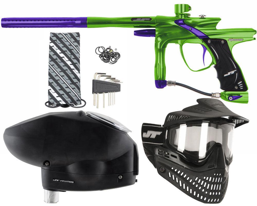 JT Impulse Paintball Gun w/ Free JT Proflex Mask & Evlution Loader - Slime/Purple