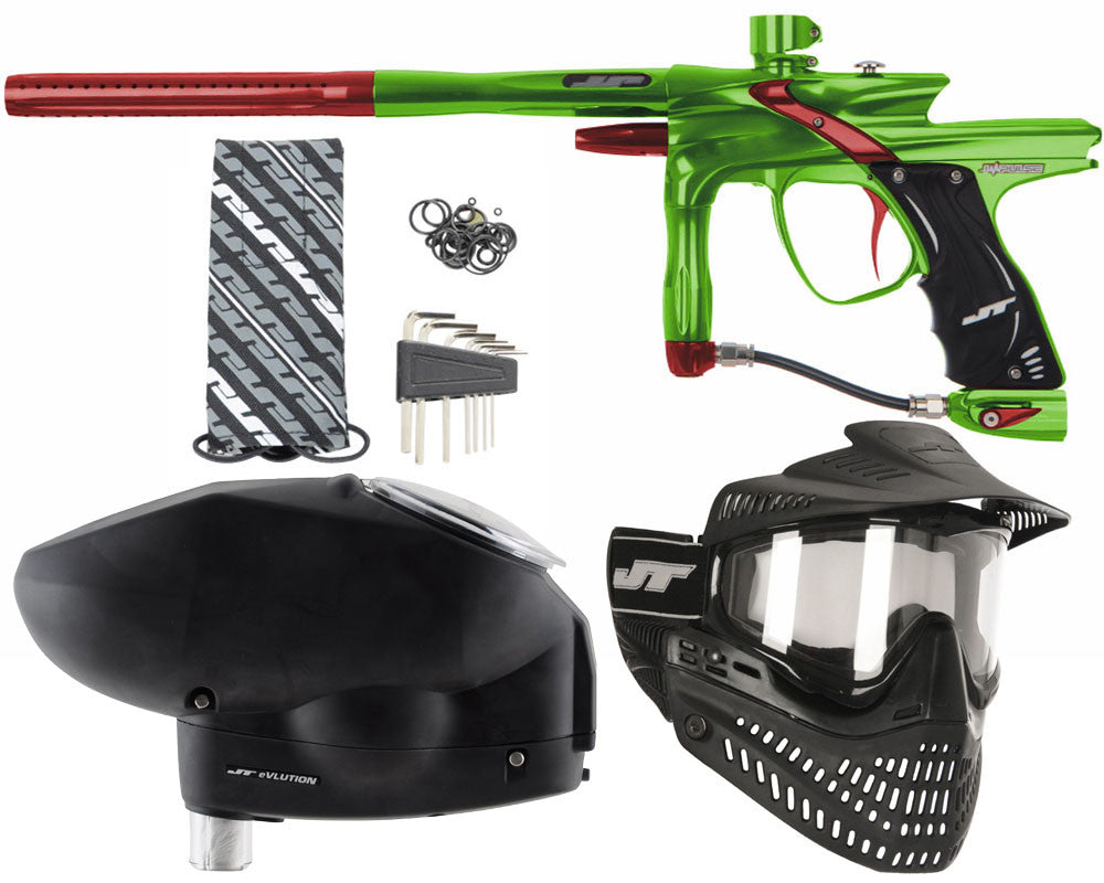 JT Impulse Paintball Gun w/ Free JT Proflex Mask & Evlution Loader - Slime/Red