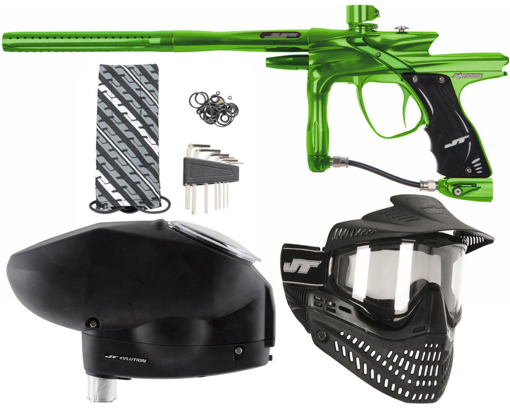 JT Impulse Paintball Gun w/ Free JT Proflex Mask & Evlution Loader - Slime/Slime