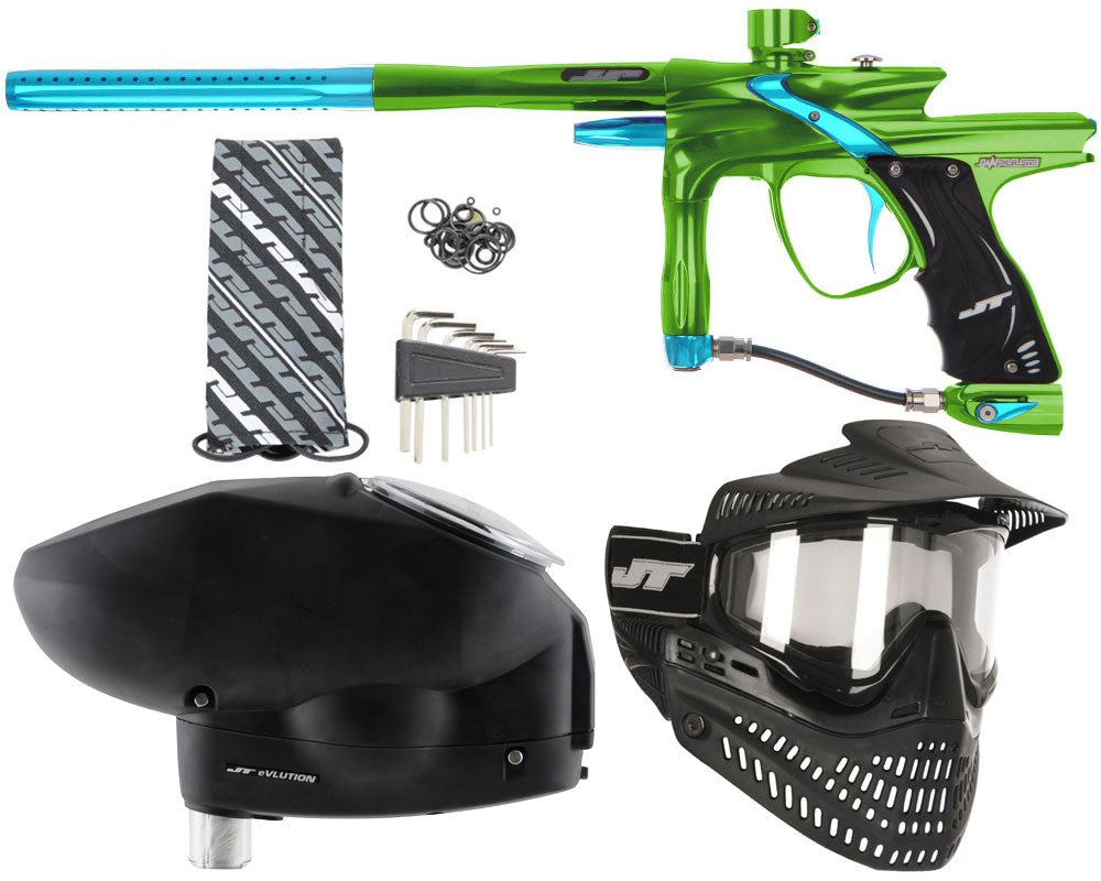 JT Impulse Paintball Gun w/ Free JT Proflex Mask & Evlution Loader - Slime/Teal