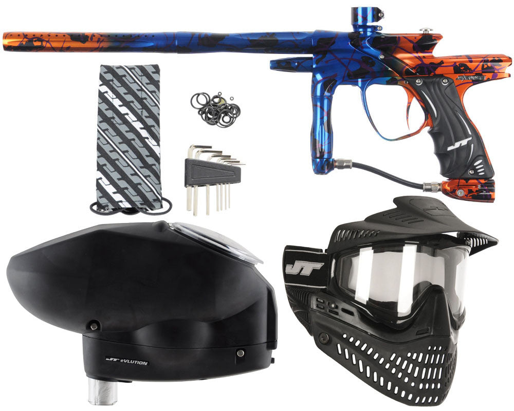 JT Impulse Paintball Gun w/ Free JT Proflex Mask & Evlution Loader - Splash Blue/Orange