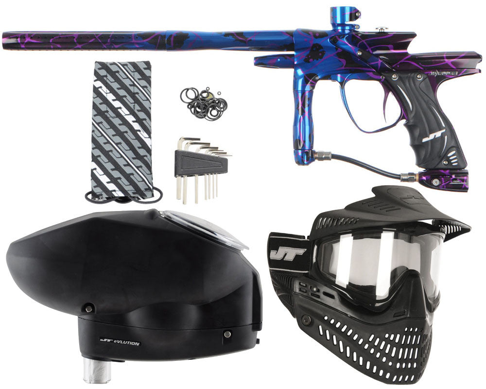 JT Impulse Paintball Gun w/ Free JT Proflex Mask & Evlution Loader - Splash Blue/Purple