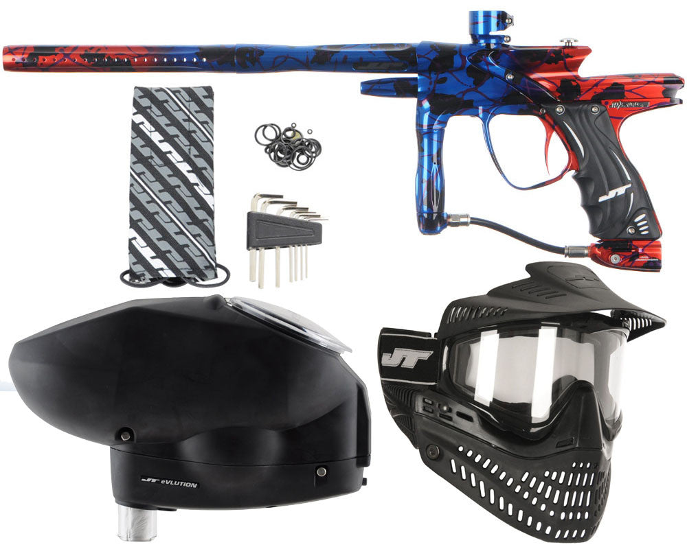 JT Impulse Paintball Gun w/ Free JT Proflex Mask & Evlution Loader - Splash Blue/Red